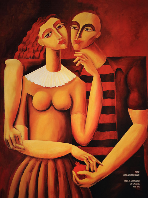 Lovers with Pomegranates poster by Yuroz