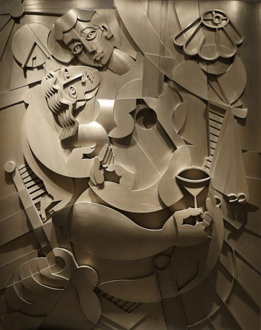 Romance with the guitar wall sculpture by Yuroz