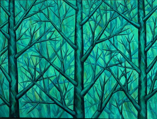 "Harmony in Green by Yuroz oil on canvas 80"" x 100"""