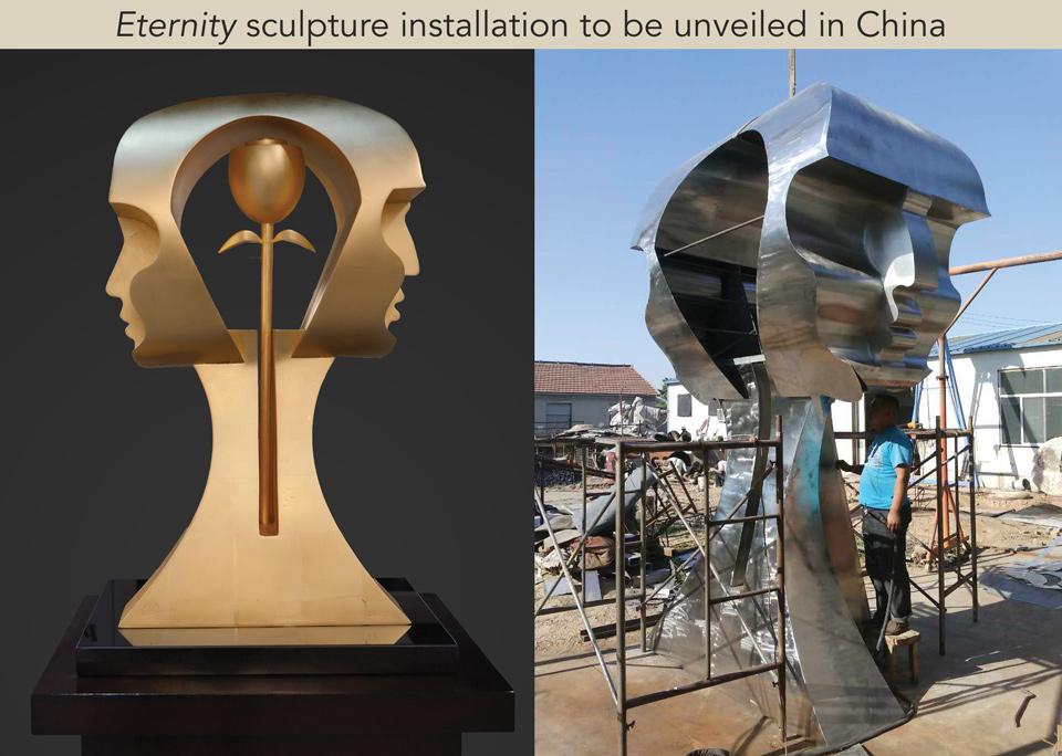 Eternity sculpture an installation by Yuroz