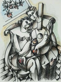 Lovers with Guitar and Pomegranate serigraph by Yuroz
