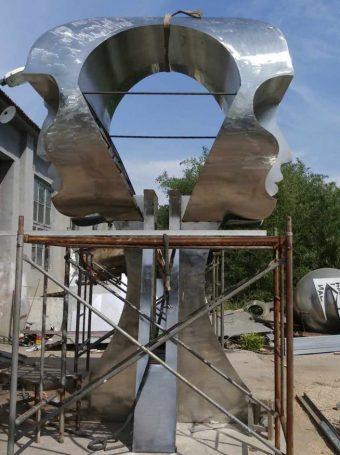 Eternity installation, 13 feet, polished steel finish