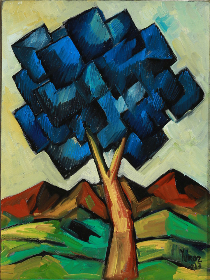 Rebirth in Blue (Study 01) Oil on Canvas by Yuroz